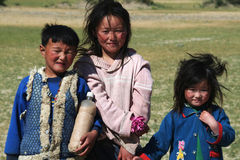 Mongolian young girls and boy Stock Photo