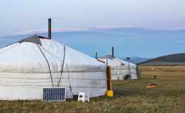 Mongolian yurt in a landscape on northern mongolia. Mongolian yurt, called ger,  in a landscape on northern mongolia Stock Images