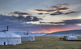 Mongolian yurt in a landscape on northern mongolia. Mongolian yurt, called ger,  in a landscape on northern mongolia Stock Photos
