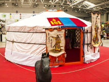 Mongolian Yurt at the Festival of the Orient in Rome Italy. The Festival of the Orient was held at the Exhibition Centre near Rome Airport at Fumincino on the Stock Image