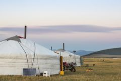 Mongolian yurt in a landscape on northern mongolia. Mongolian yurt, called ger,  in a landscape on northern mongolia Stock Photo