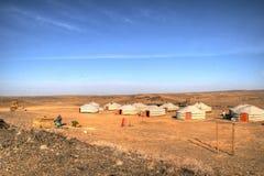 Mongolian yurt. The scientific base of yurts in the Gobi Desert Stock Image