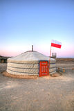 Mongolian yurt. The scientific base of yurts in the Gobi Desert Stock Photos