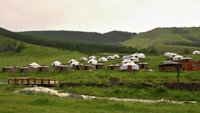 Mongolian Yurts camp near Ullanbaator in Mongolia Royalty Free Stock Photography