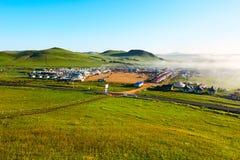 The mongolian yurts on the grassland Stock Photo