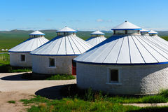 Mongolian Yurts In Grassland Stock Images