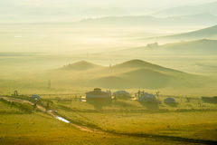 The mongolian yurts in the meadow Royalty Free Stock Photography