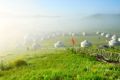 The mongolian yurts in the morning fog Stock Photo