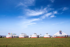 Mongolian yurts on the prairie Royalty Free Stock Image