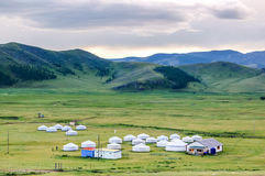 Mongolian yurts on steppe Royalty Free Stock Photography