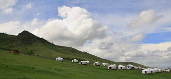 Mongolian Yurts vicino a Ullaanbaator in Mongolia Fotografia Stock