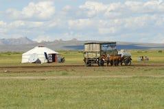 Mongolians have a picnic circa Harhorin, Mongolia. Royalty Free Stock Photo