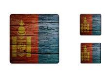 Mongoliet flaggaknappar Fotografering för Bildbyråer