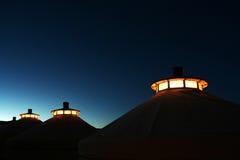 Mongoliet utgångspunkt på skymningen royaltyfri bild