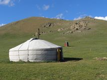 Mongolische Landschaft mit yurt Stockbilder