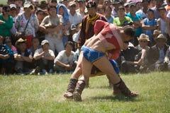Mongolische Ringkämpfer an den Nadaam Spielen Stockfoto