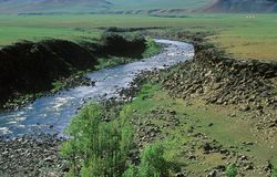 Mongolischer Fluss Stockfotografie