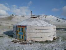 Mongolischer Ger im Schnee Lizenzfreies Stockfoto