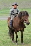 Mongolischer junger Reiter Stockfotografie