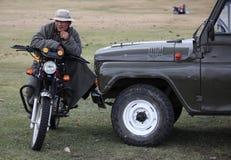 Mongolisches Motorrad stockfotos
