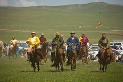 Mongolisches Pferdenrennen Stockbild