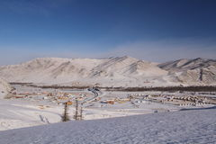 Mongolisk platå i vinter Arkivbilder