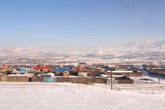 Mongolisk platå i vinter Royaltyfri Foto