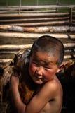 Mongolisk pojke Fotografering för Bildbyråer