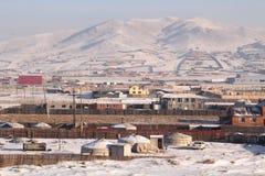 Mongolisk yurt i Ulanbator Fotografering för Bildbyråer