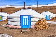 Mongoliska ger (yurt) - moderna boningnomader Arkivbilder
