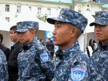 Mongoliska militärsoldater Arkivfoto