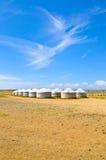 Mongoliska yurts Fotografering för Bildbyråer