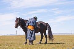 Mongoliskt folk Arkivfoto