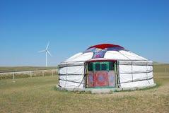Mongolska jurta i wiatraczek Zdjęcie Royalty Free