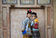 Mongolska para w tradycyjnym stroju zdjęcie stock