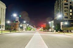 Mongomery alabam śródmieście przy nighttime zdjęcia stock