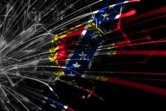 Mongomery, Alabama abstrakcjonistyczni fajerwerki błyska flagę Nowego Roku, bożych narodzeń i święta państwowego pojęcie, ameryki royalty ilustracja