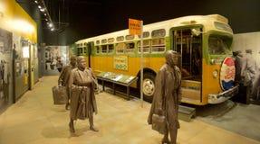 Mongomery bojkota Autobusowy eksponat wśrodku Krajowych praw obywatelskich Muzealnych przy Lorraine motelem Obraz Royalty Free