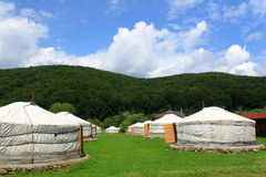 Mongools huis - yurts royalty-vrije stock afbeelding