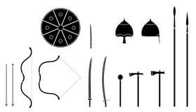 Mongoolse geplaatste wapens en pantsers Het mongoolse materiaal van de nomadestrijder vector illustratie