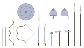 Mongoolse geplaatste wapens en pantsers Het mongoolse materiaal van de nomadestrijder stock illustratie