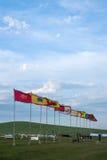 Mongoolse stammen yurts en banners Royalty-vrije Stock Foto