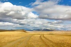 Mongoolse weg aan berg Stock Foto