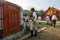Mongoolse yurts stock afbeelding