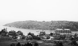 Monhegan Island, Maine. Black and white, toned panoramic photograph of Monhegan Island, Maine. Manana Island in the distance Stock Photos