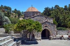 Moni Thari - Orthodox monastery in Byzantine style. On the island of Rhodes stock photos