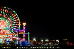 monica晚上码头圣诞老人 免版税库存图片