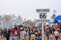 monica码头圣诞老人 库存照片