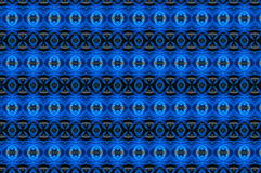 Monica 9. Textile pattern in a blue and golden  mixture of colours with interesting geometries Royalty Free Stock Photo