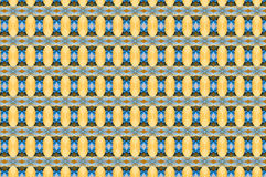 Monica. Textile pattern in a  blue and golden mixture of colours with interesting geometries Stock Photo